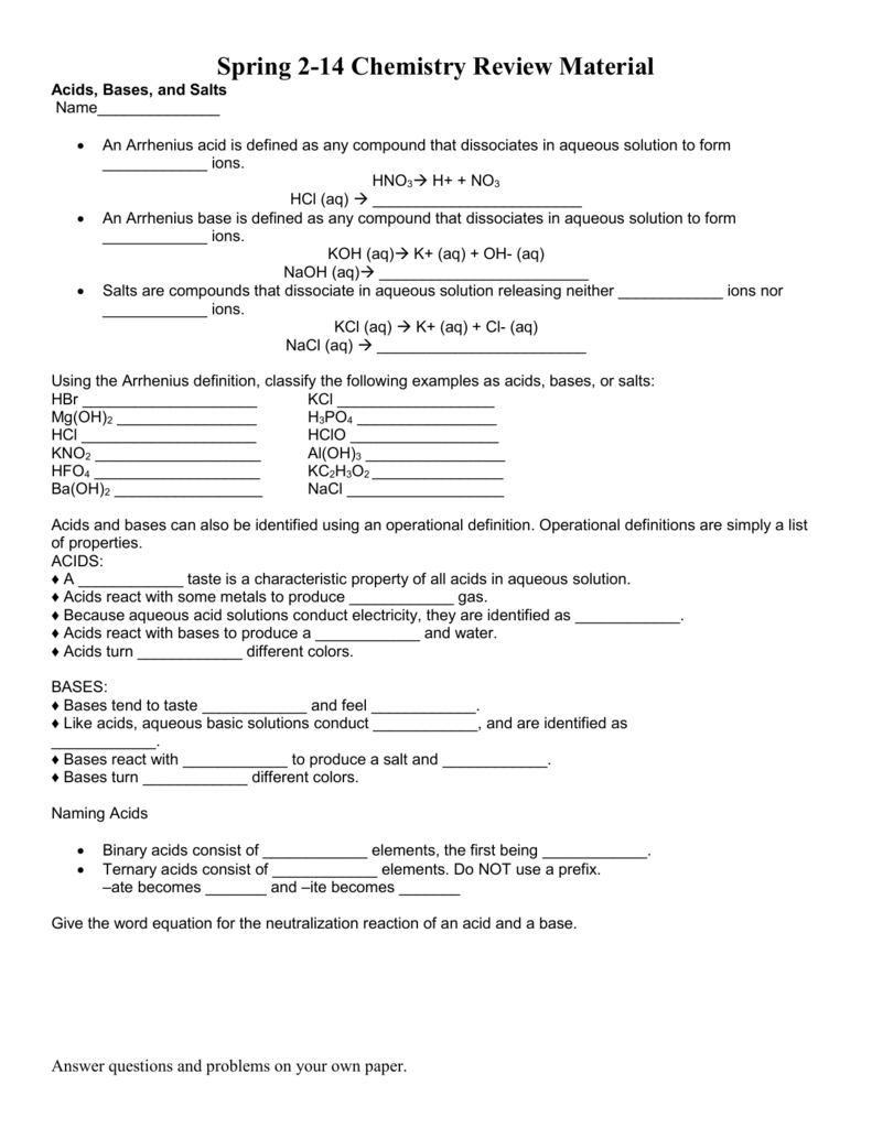 Worksheet  Acids And Bases Worksheet Answer Key  Mytourvn