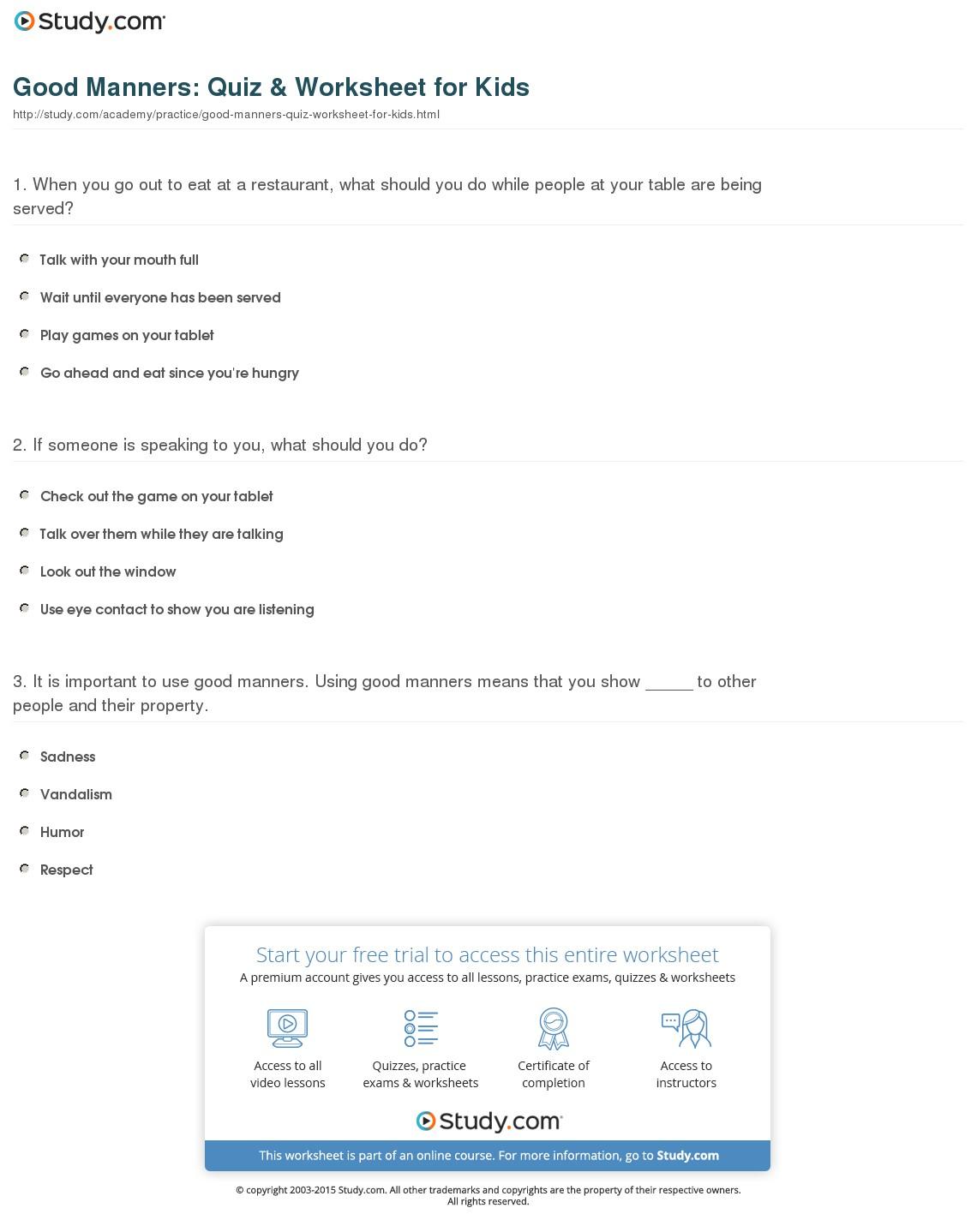 Worksheet  Good Manners Worksheet  Caytailoc Free Printables