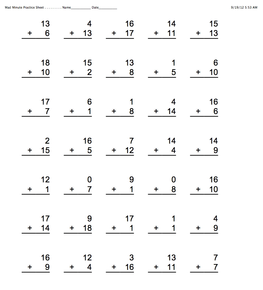 Worksheet Mad Minute Math Addition Worksheets Division