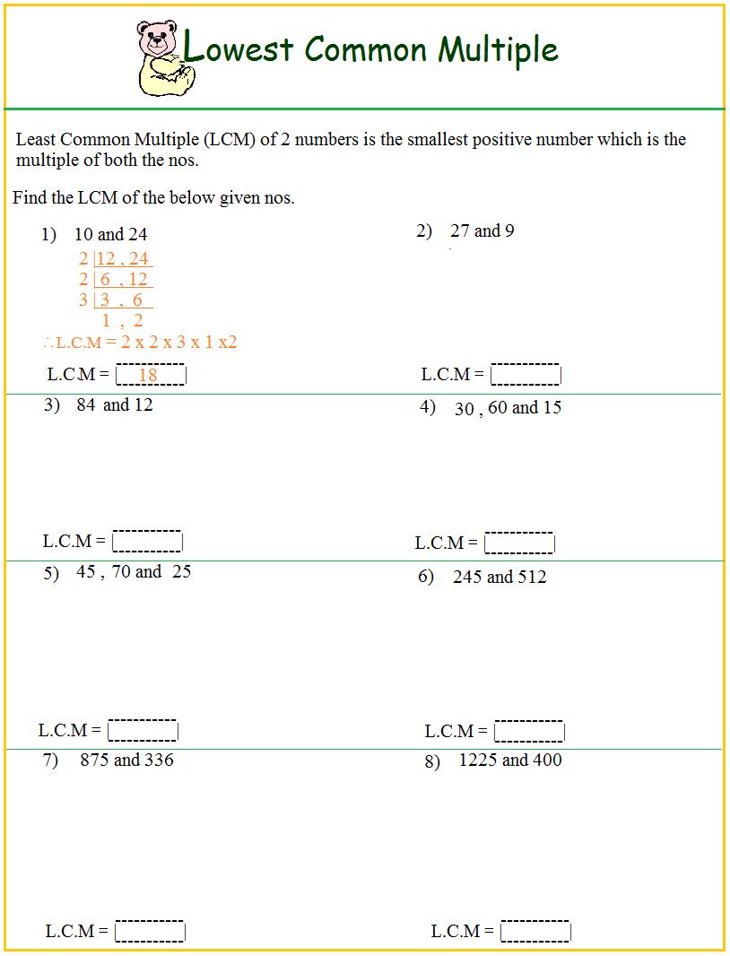 Worksheet On Lcm