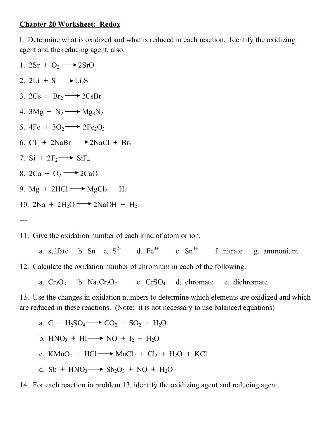 Single Replacement Reaction Worksheets