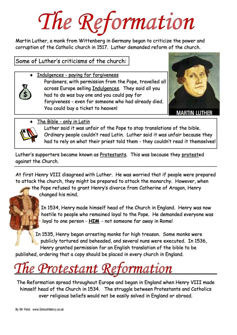Worksheet Protestant Reformation Luizah And Martin Luther Lesson