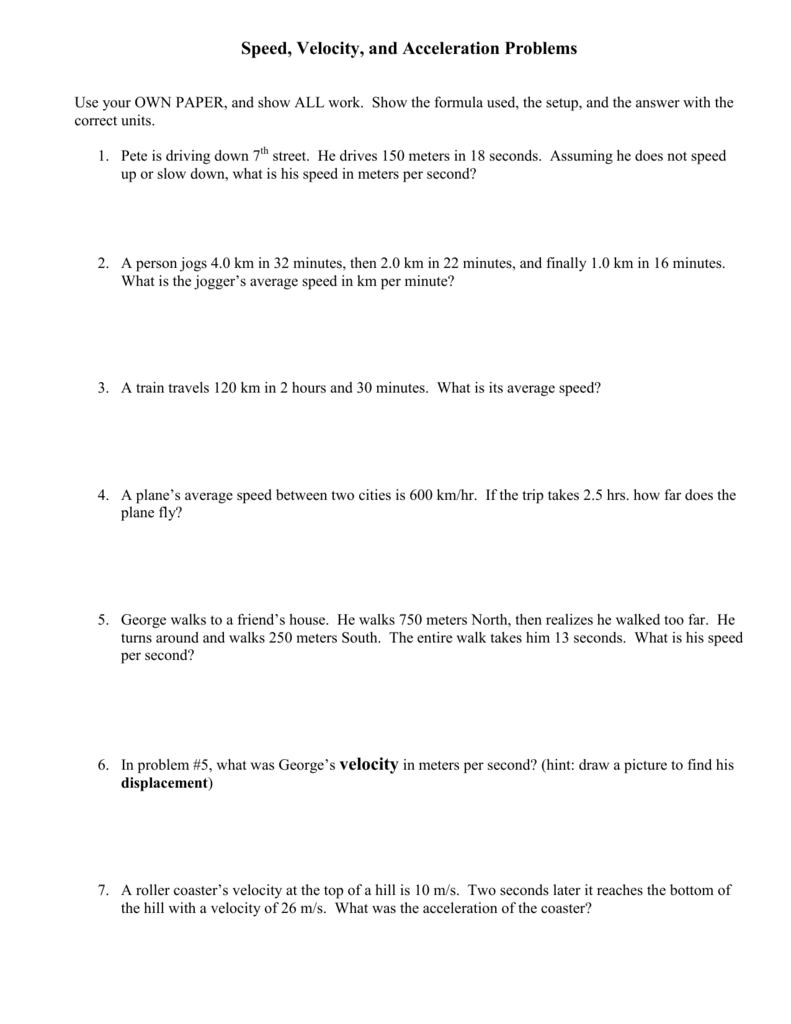 Worksheets  Acceleration Problems Worksheet  Atidentity Com Free