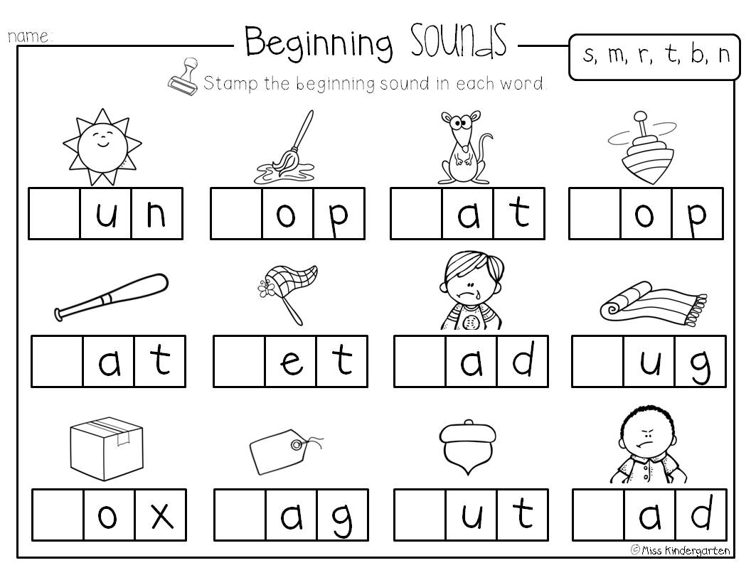 beginning sound worksheets for kindergarten. Black Bedroom Furniture Sets. Home Design Ideas