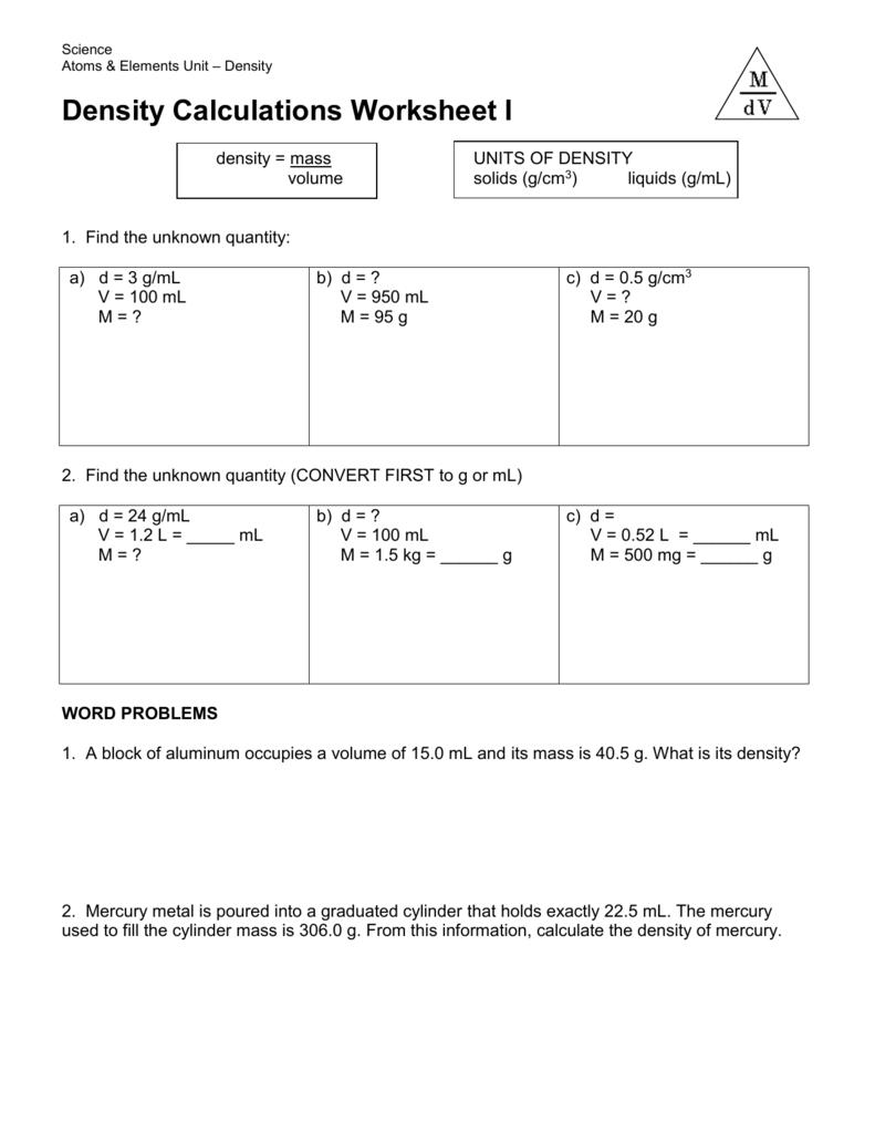 Worksheets  Density Calculations Worksheet  Atidentity Com Free
