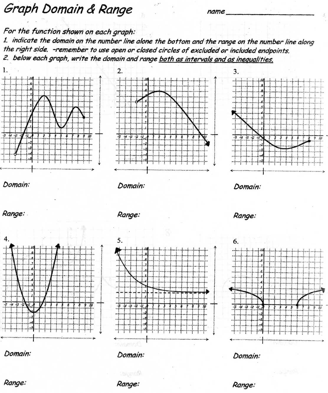 Worksheets  Domain And Range Of A Graph Worksheet  Atidentity Com