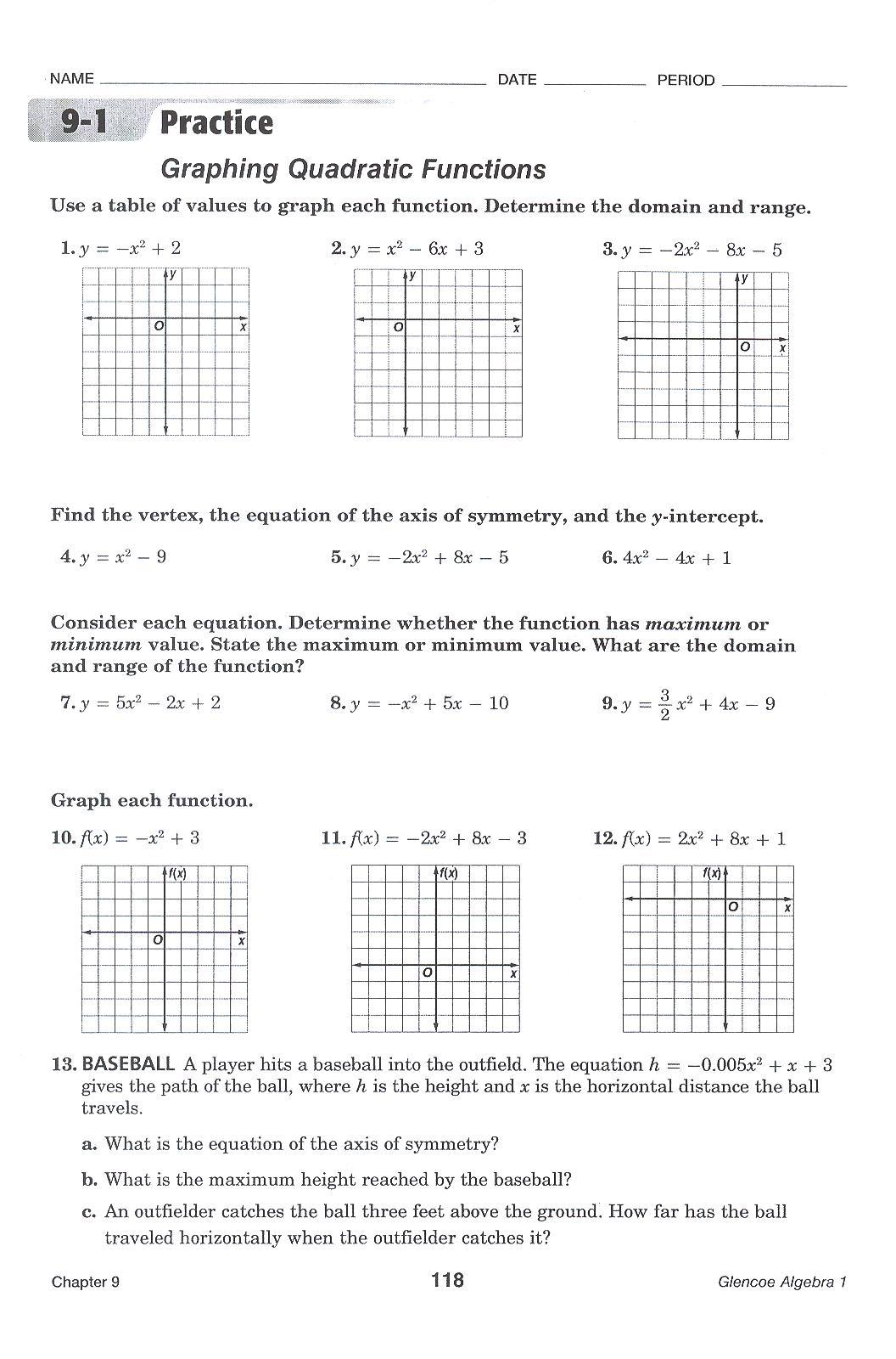 Worksheets  Graphing Quadratic Equations Worksheet  Atidentity Com