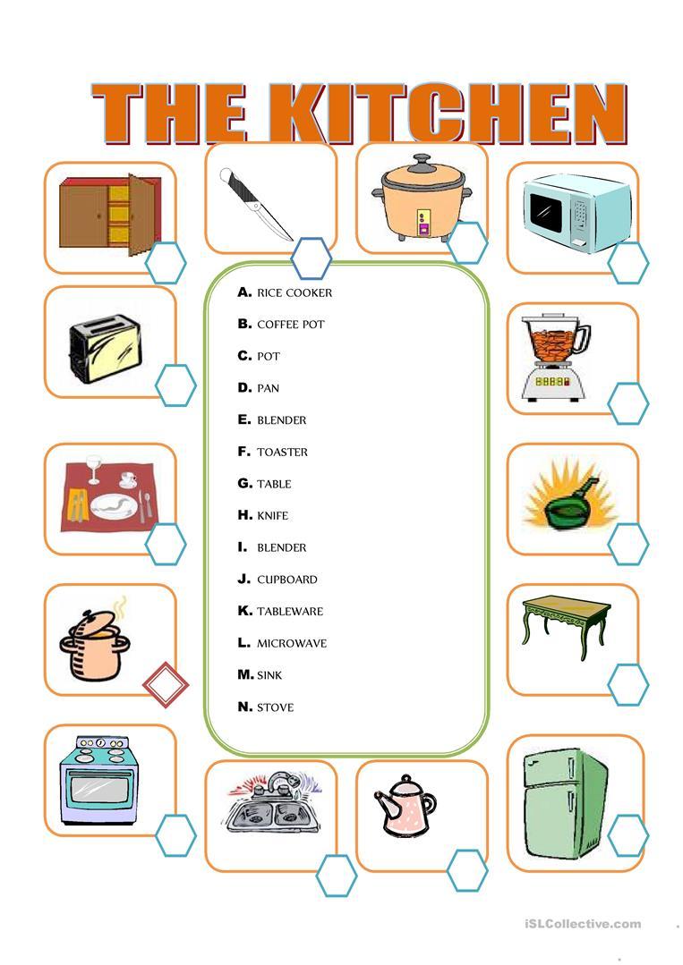 115 Free Esl Kitchen Worksheets