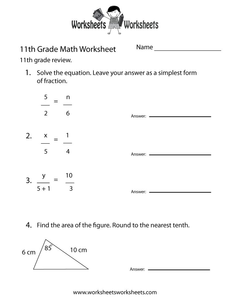 11th Grade Math Review Worksheet