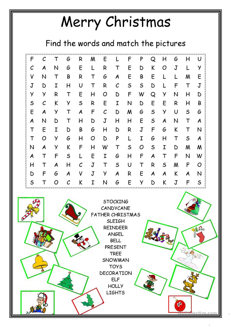 20 Free Esl Christmas Wordsearch Worksheets