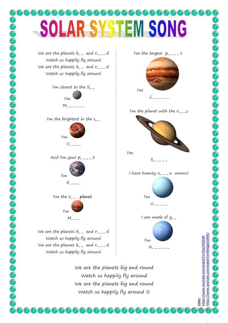 20 Free Esl Solar System Worksheets