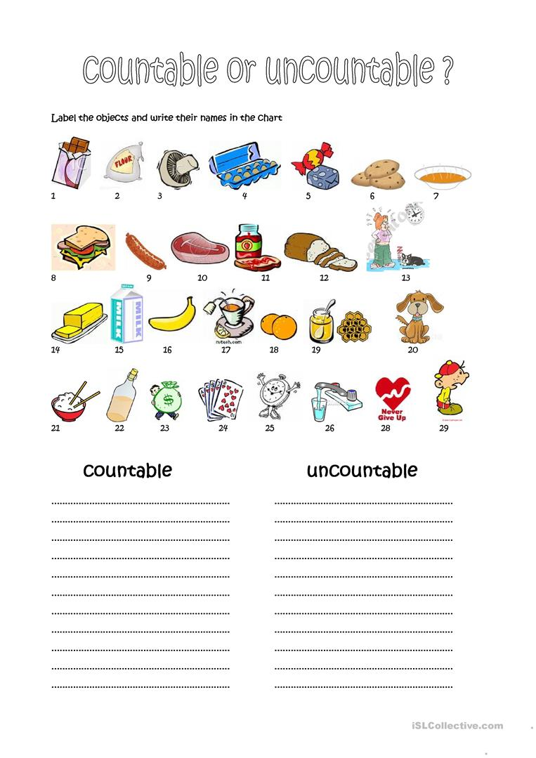 238 Free Esl Countable And Uncountable Nouns Worksheets