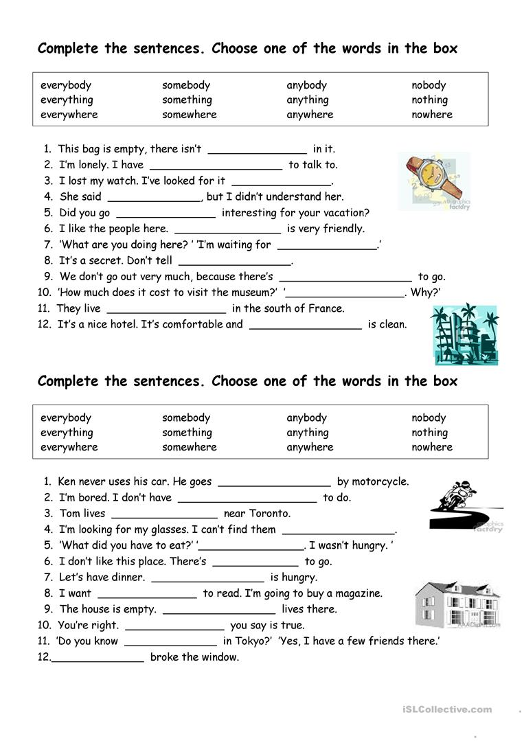 27 Free Esl Indefinite Pronouns Worksheets