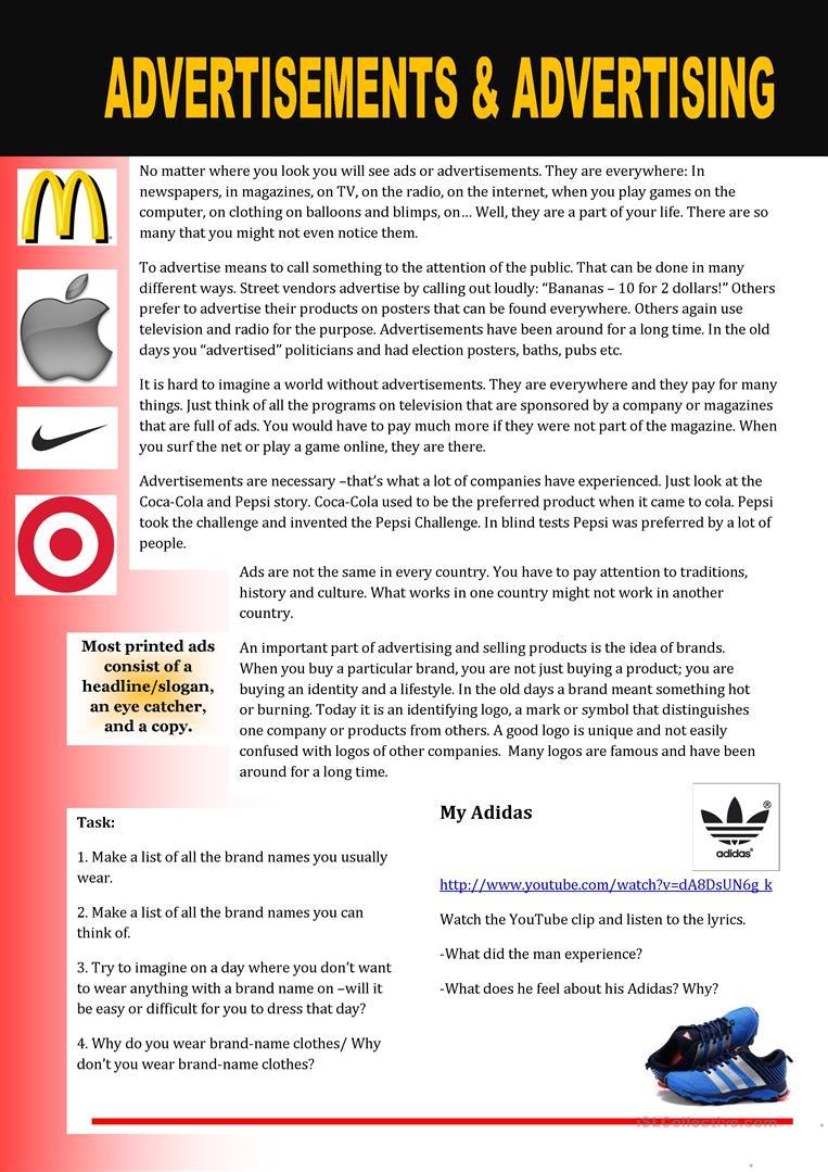 worksheet Esl Reading Comprehension Worksheets advertisement reading comprehension worksheets