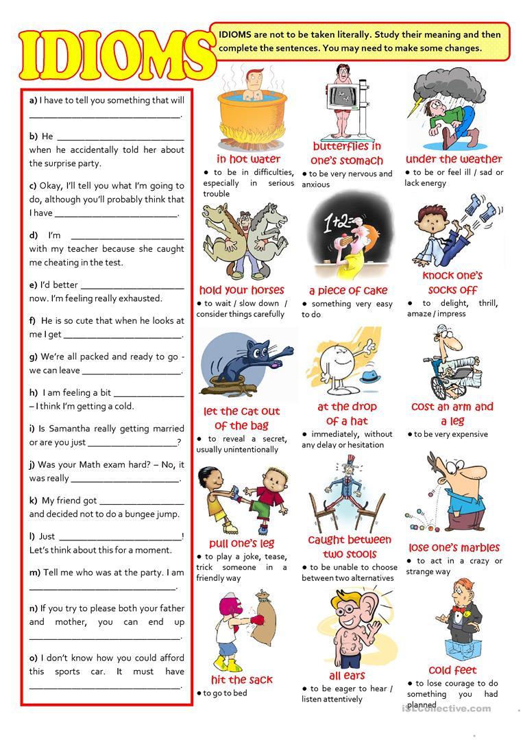 330 Free Esl Idioms Worksheets