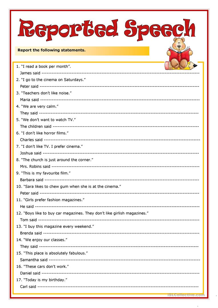 377 Free Esl Reported Speech (indirect Speech) Worksheets