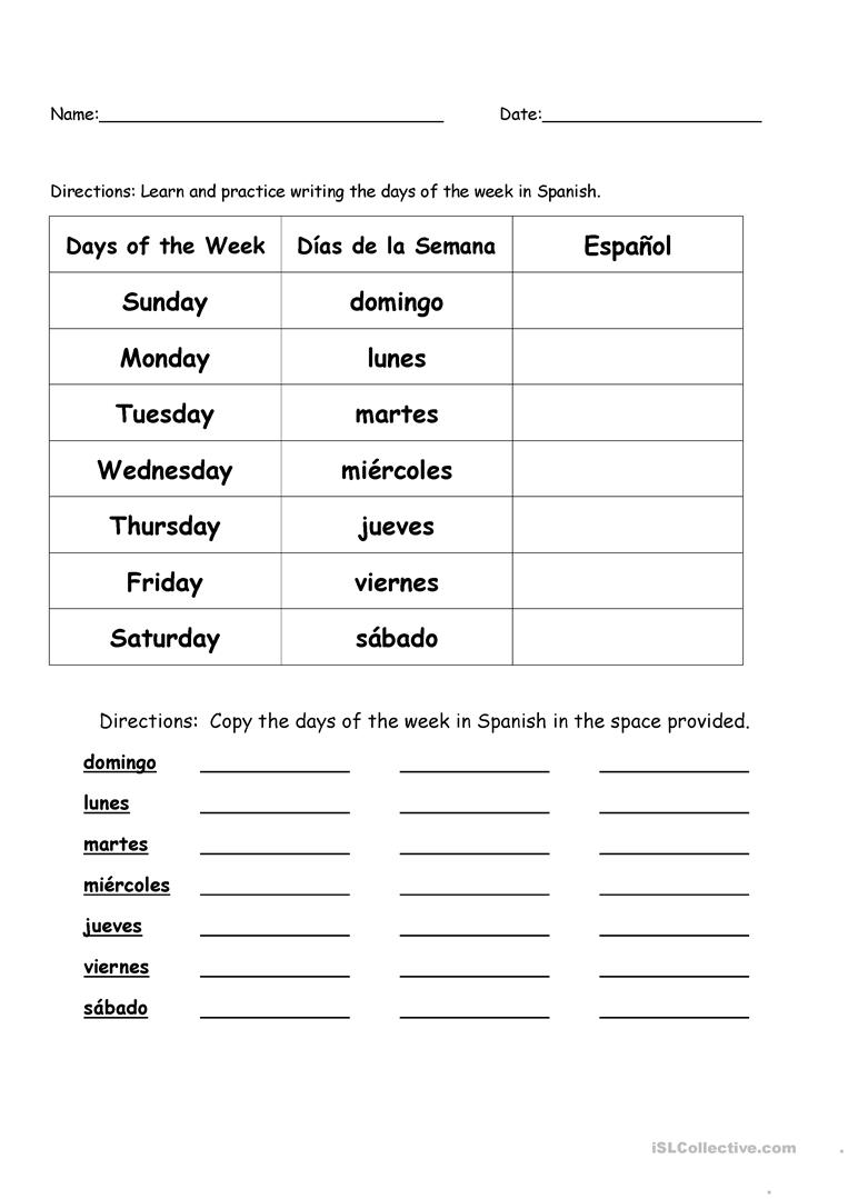 46 Free Esl Spanish Worksheets