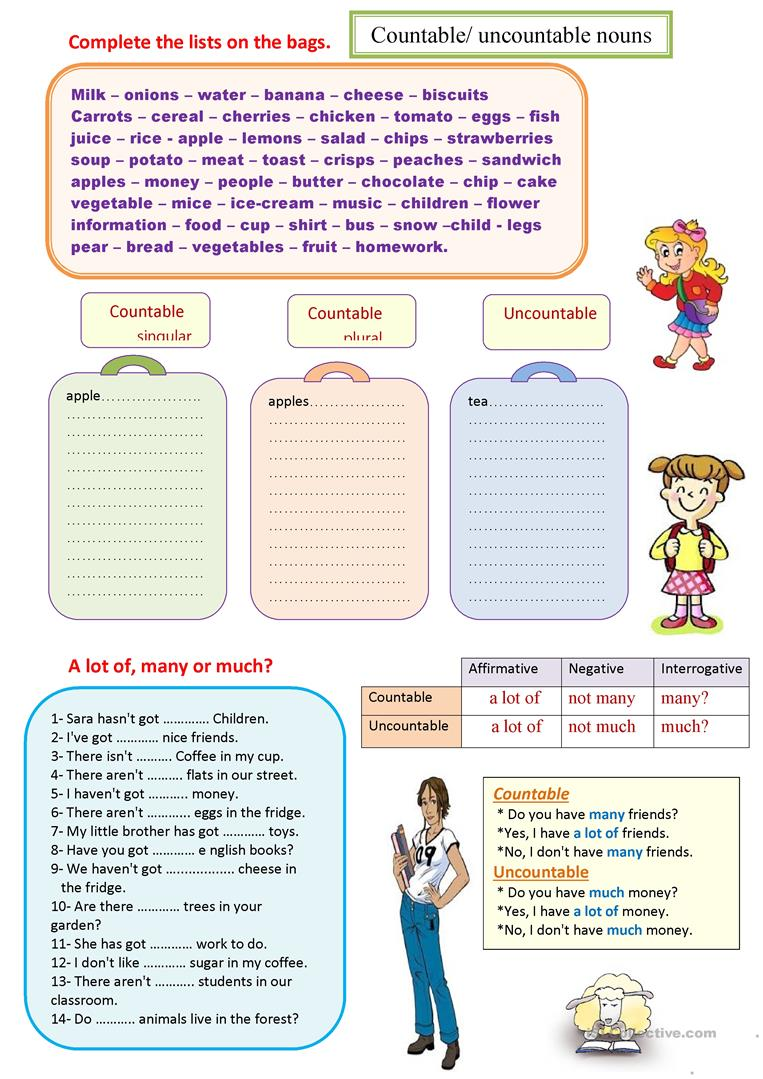 47 Free Esl Countable And Uncountable Nouns Worksheets