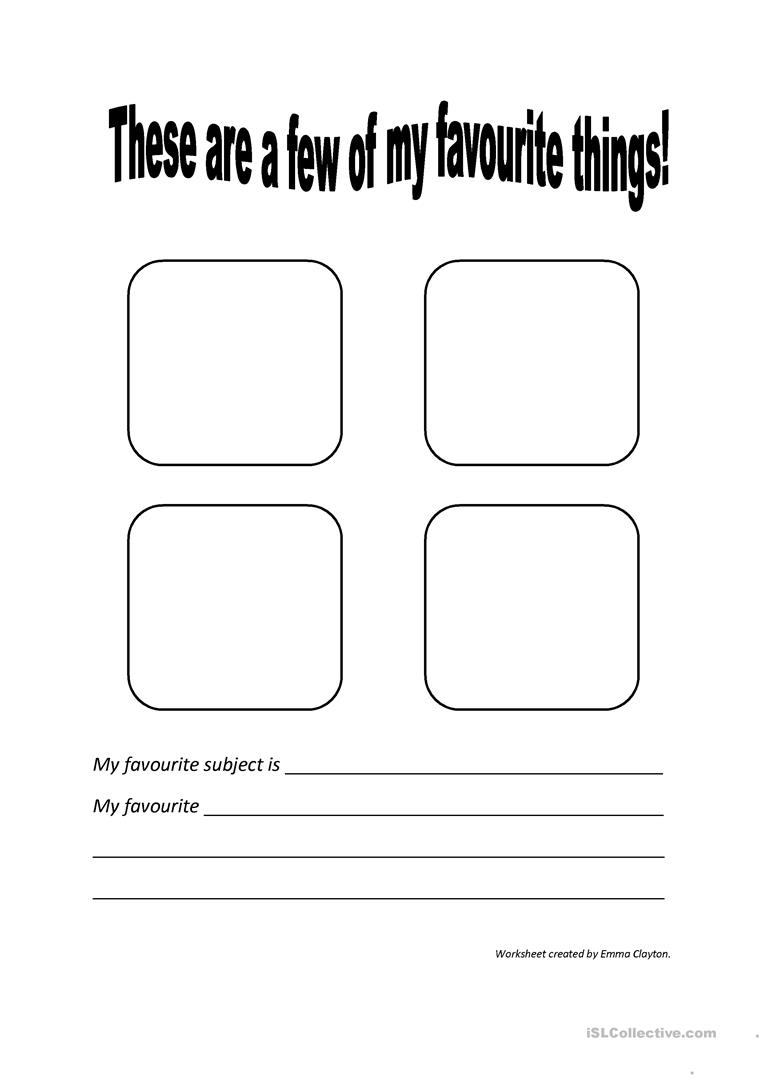 5 Free Esl Favorite Things Worksheets