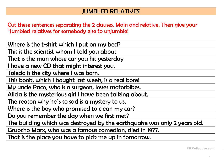 5 Free Esl Jumbled Sentences Worksheets
