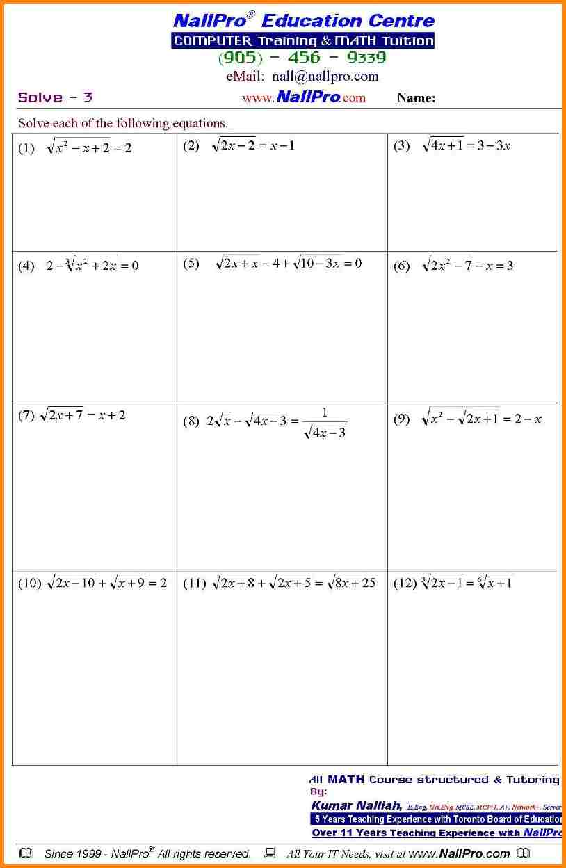 math worksheets for 11th grade