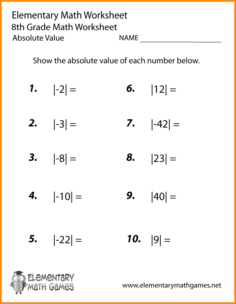 6+ Absolute Value Worksheets