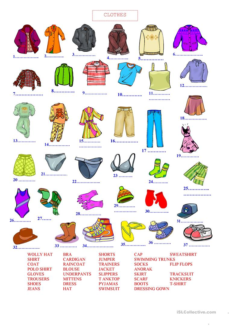730 Free Esl Clothes Worksheets