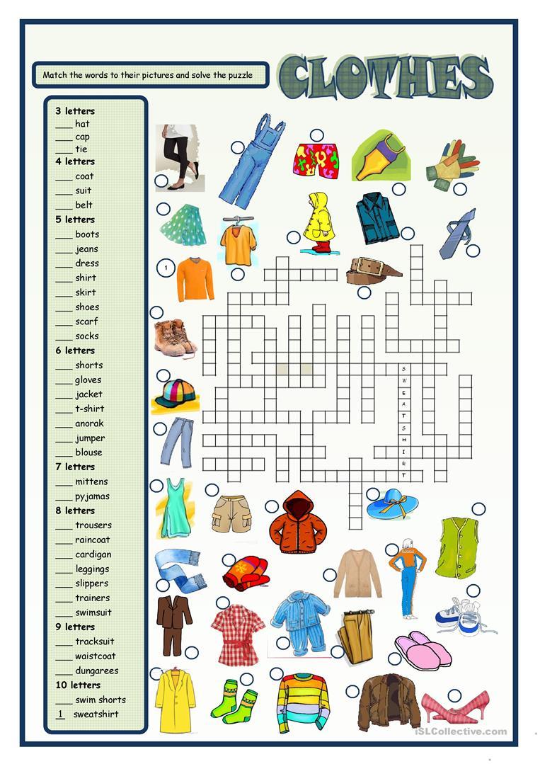 738 Free Esl Clothes Worksheets