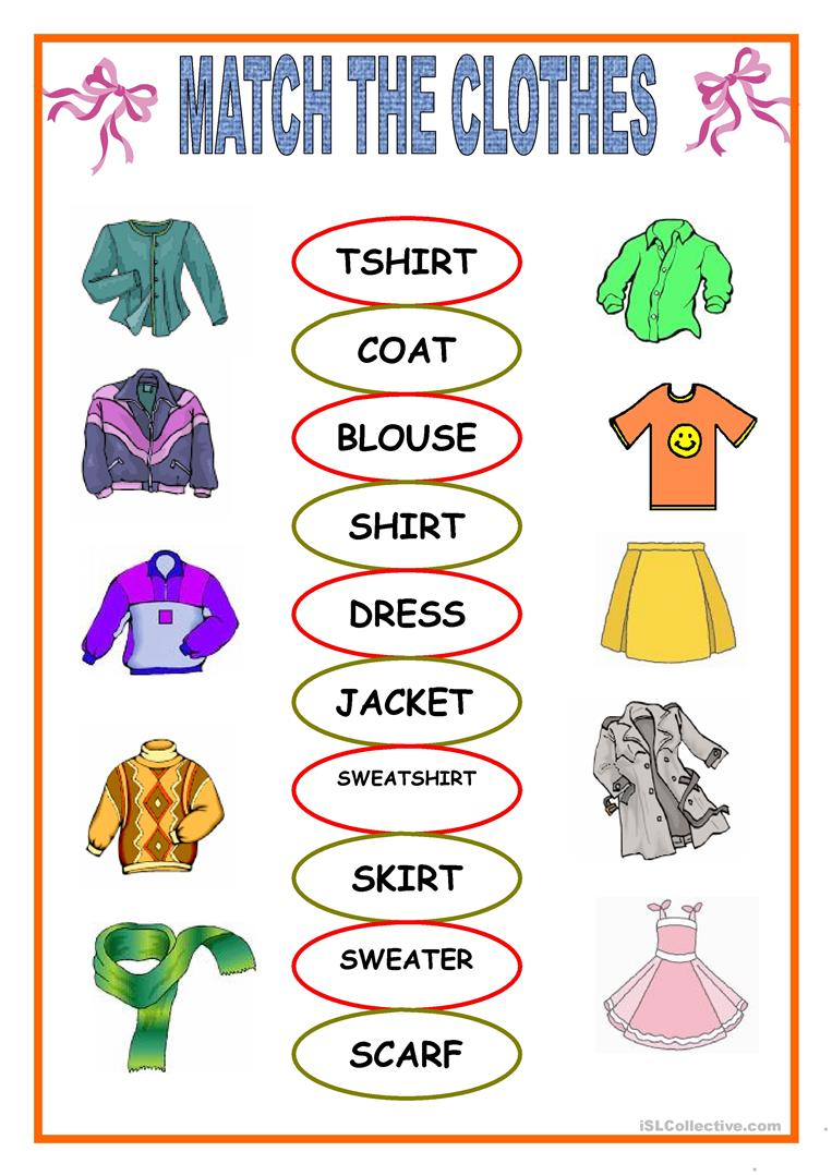740 Free Esl Clothes Worksheets