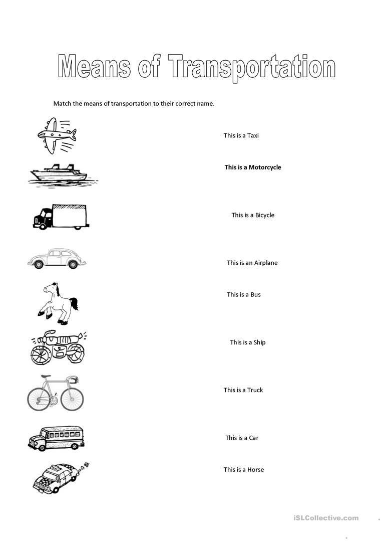 79 Free Esl Means Of Transport Worksheets