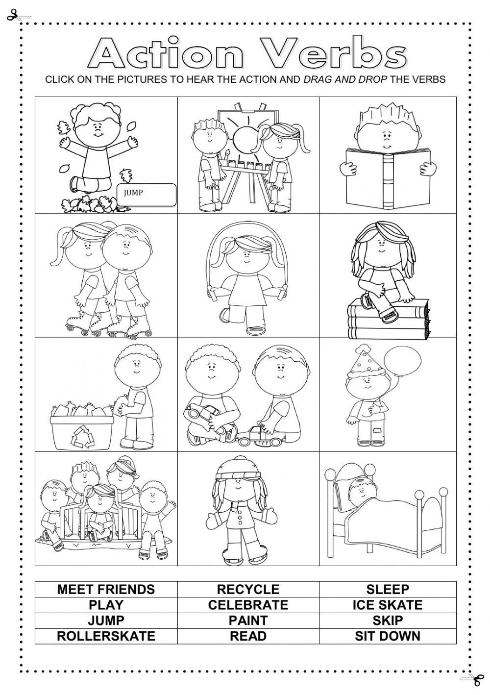 Worksheets Recycling For Kids Worksheets verbs for kids worksheets
