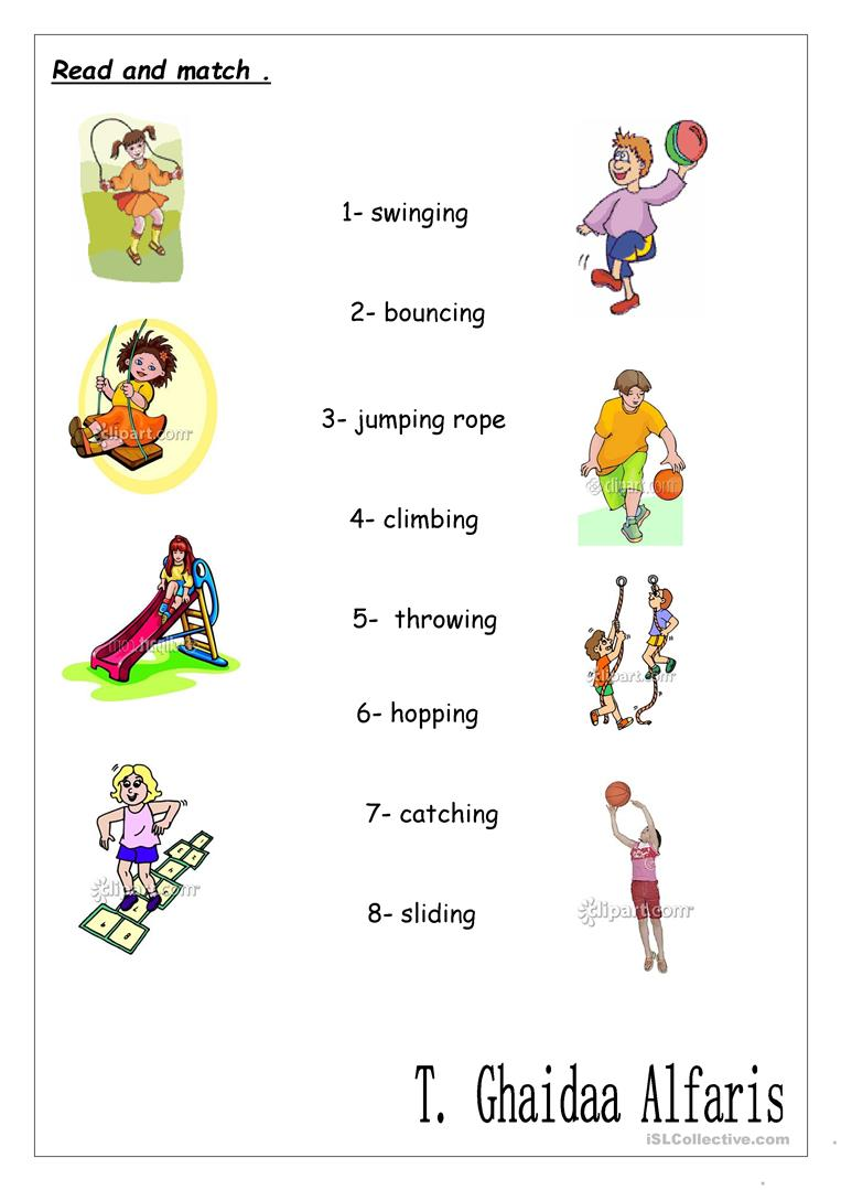 Action Verbs+ing Worksheet