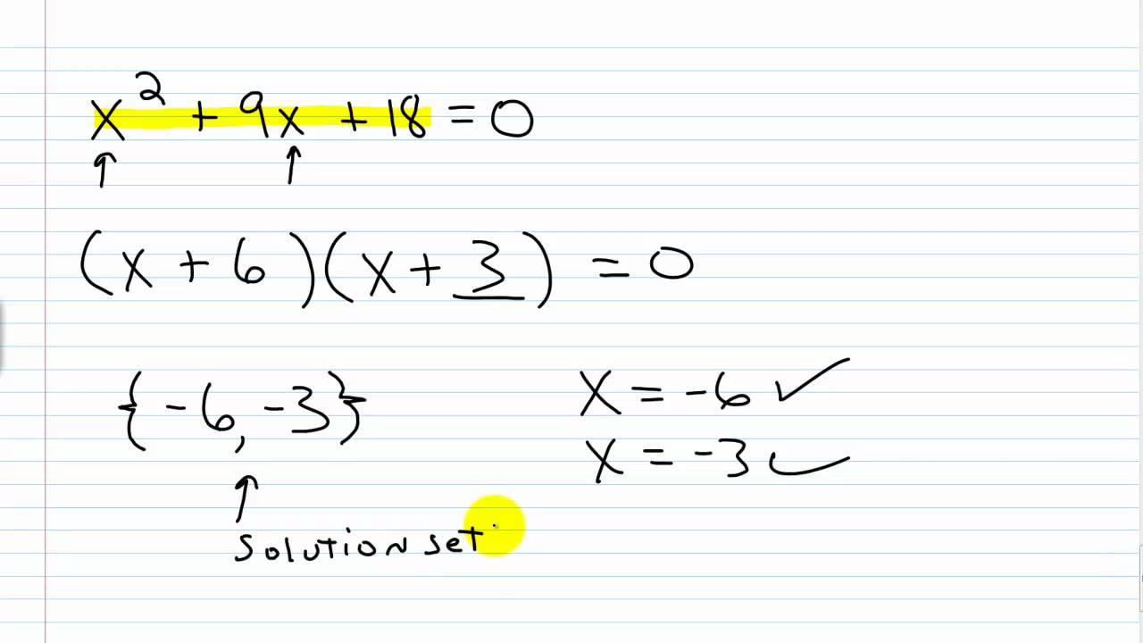 Algebra I Help  Solving Quadratic Equations By Factoring Part I