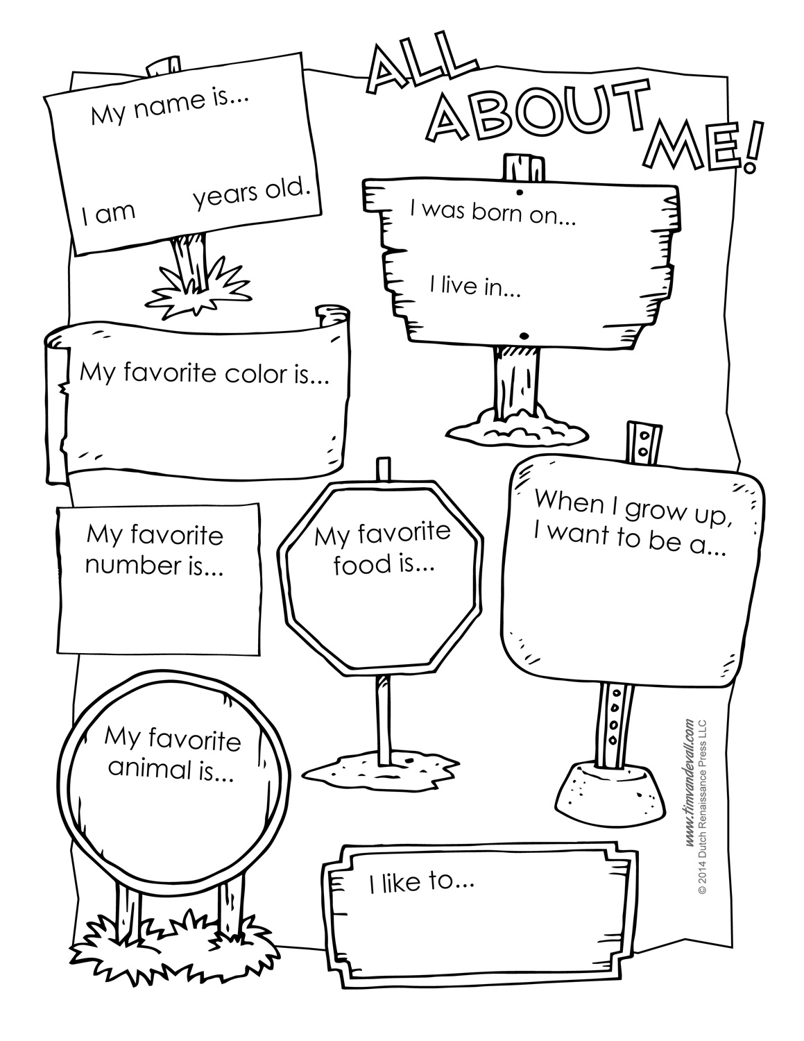 All About Me Preschool Template