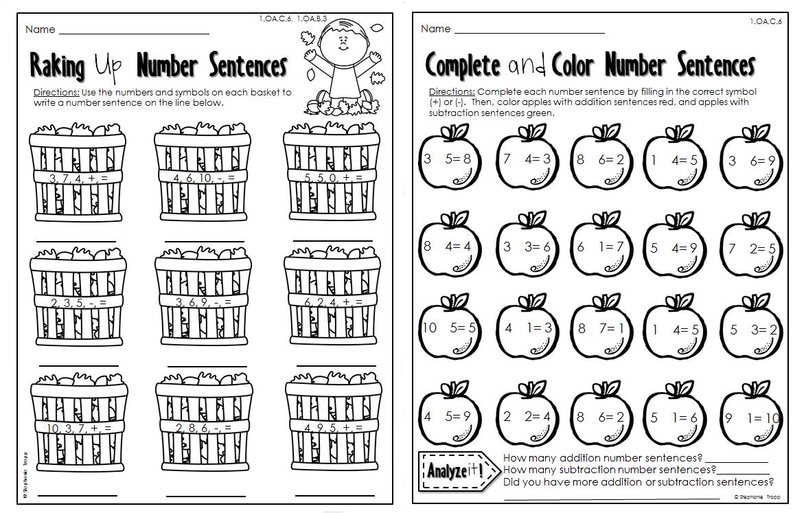 Autumn Math Worksheets For Kindergarten Worksheets For All