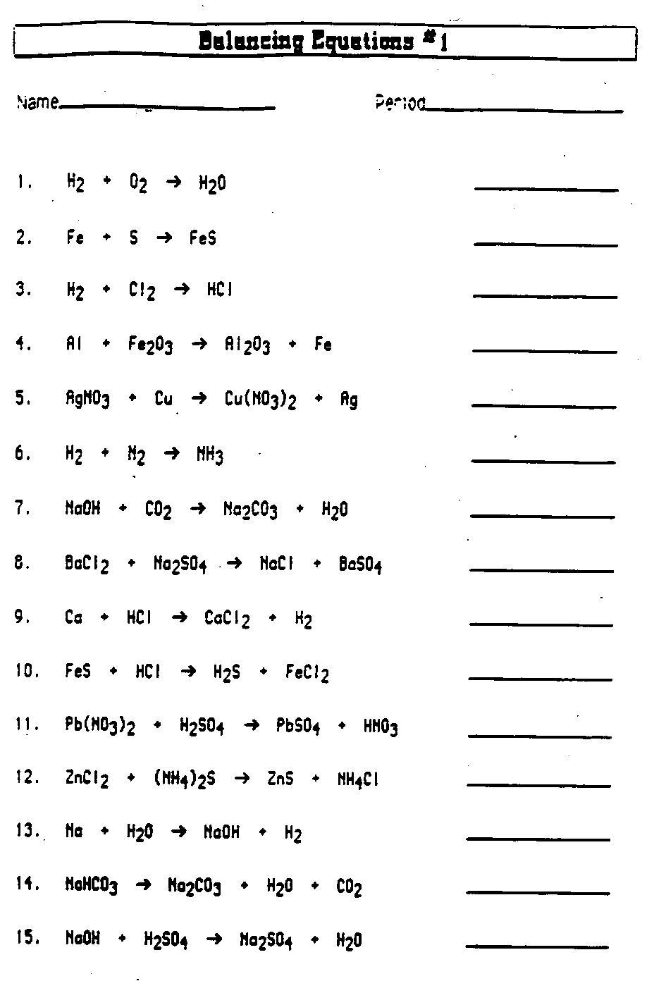 Balancing Chemical Equations Middle School Worksheets