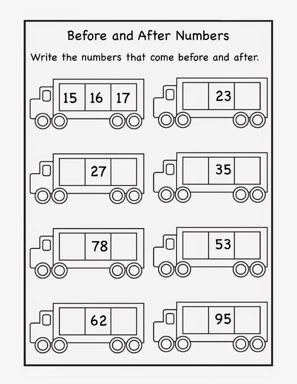 Before And After Number Worksheets Worksheets For All