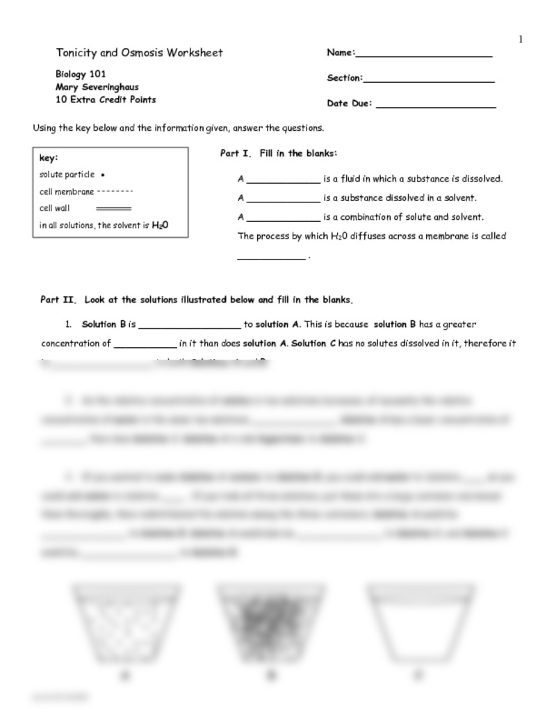 Cell Membrane And Tonicity Worksheet Worksheets For All