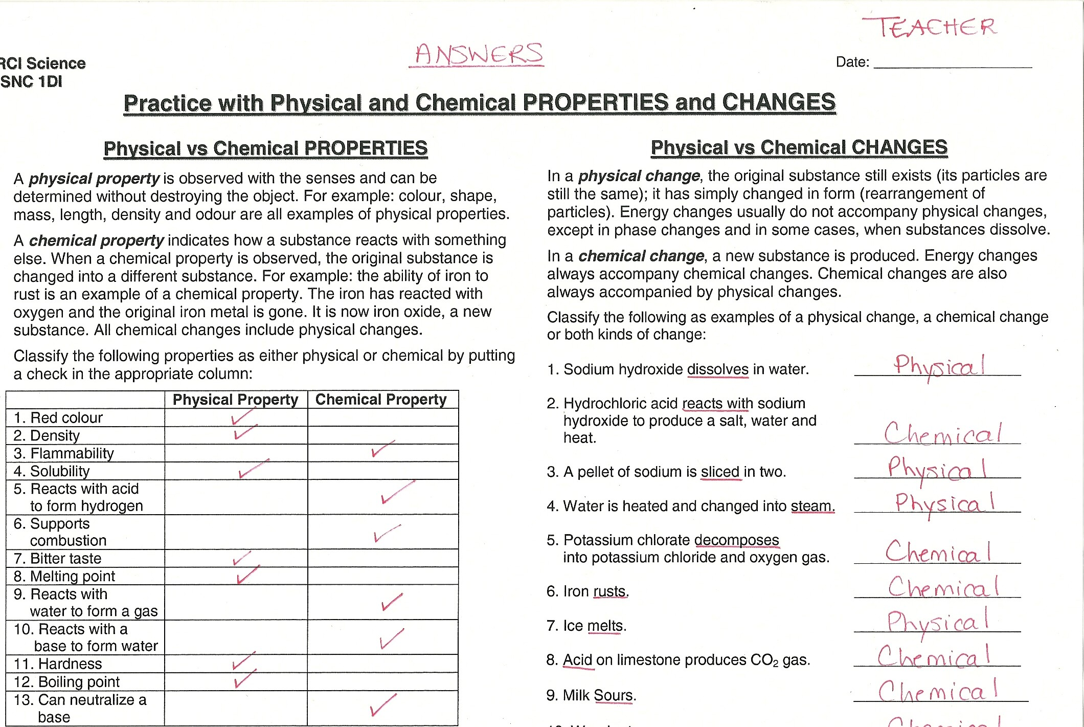 Worksheets Physical And Chemical Properties Of Matter Worksheet chemical physical properties worksheets