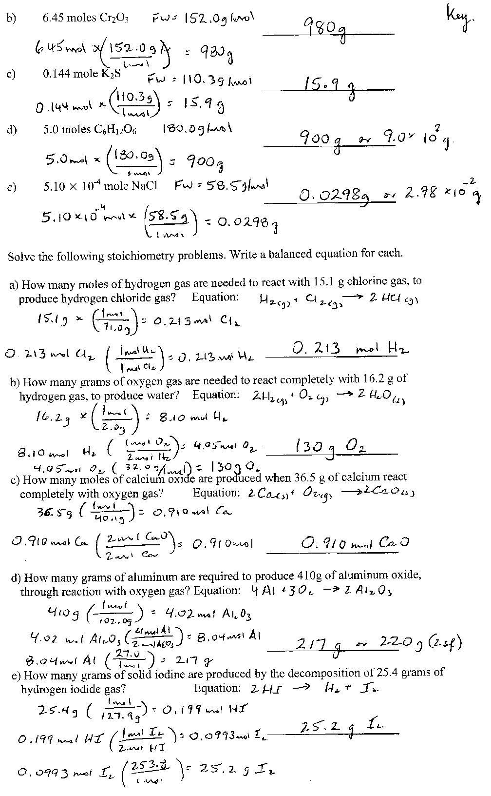 Chemistry Stoichiometry Worksheet Worksheets For All