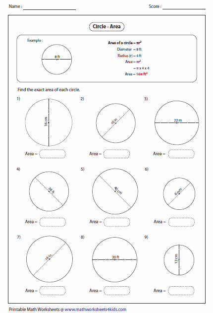 Circumference And Area Of Circles Worksheets