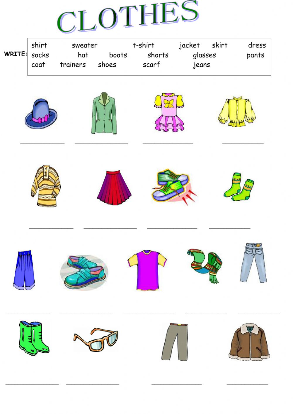 Clothes  The Clothes Worksheet