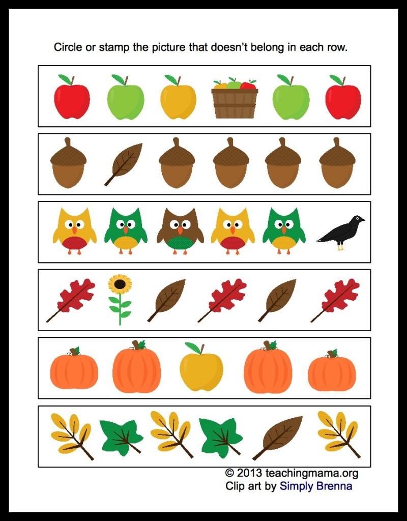 Coloring Pages   Autumn Math Worksheets Different 800x1024