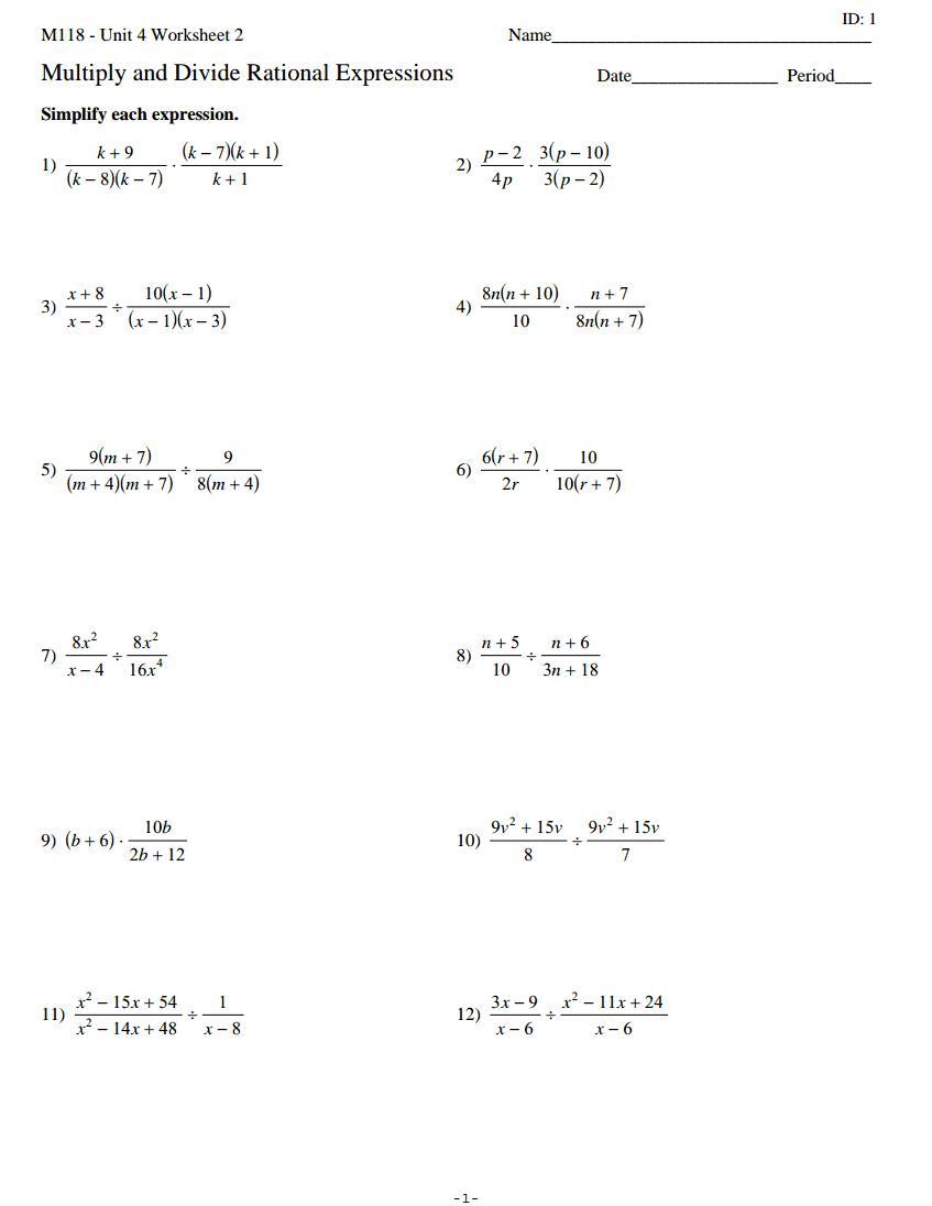Complex Fraction Worksheet Math Worksheets 7th Grade Word Problems