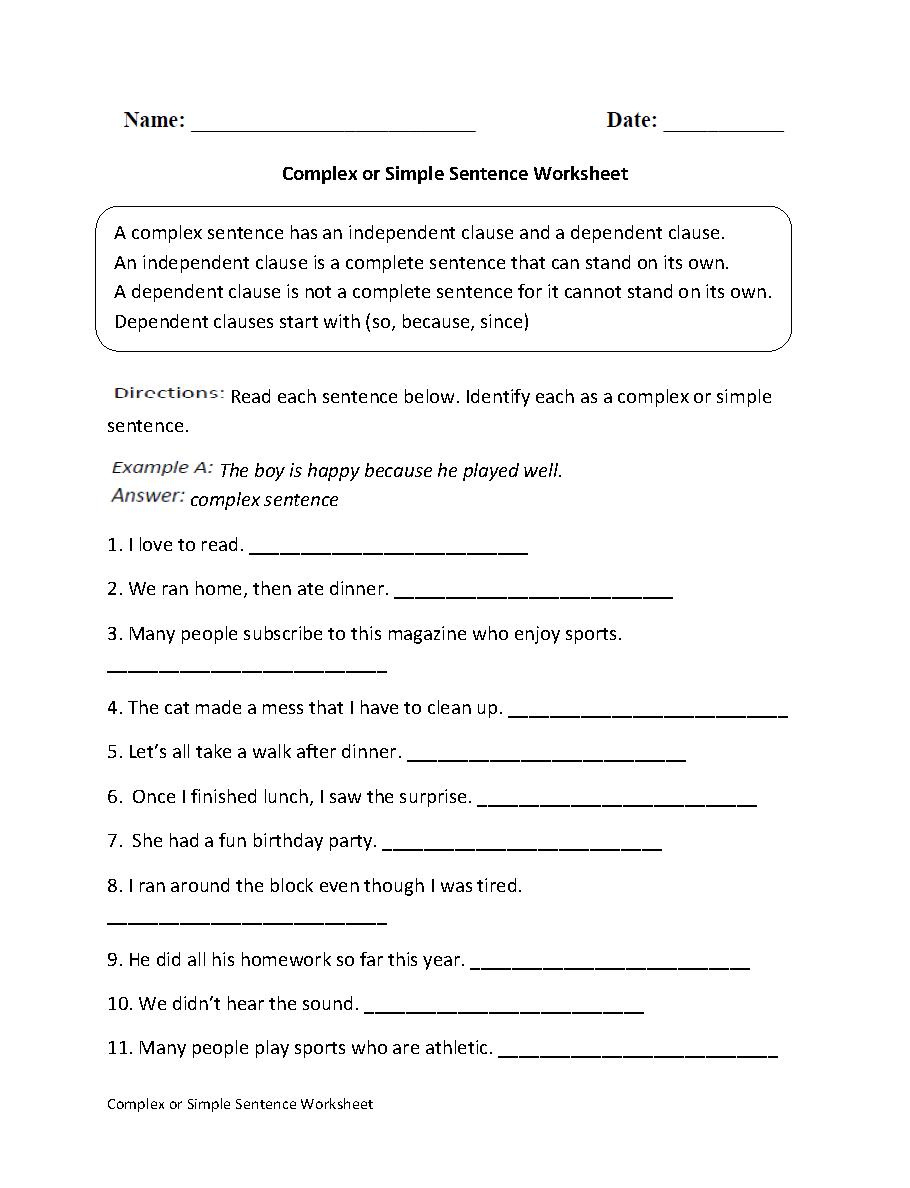 Complex Or Simple Sentence Worksheet