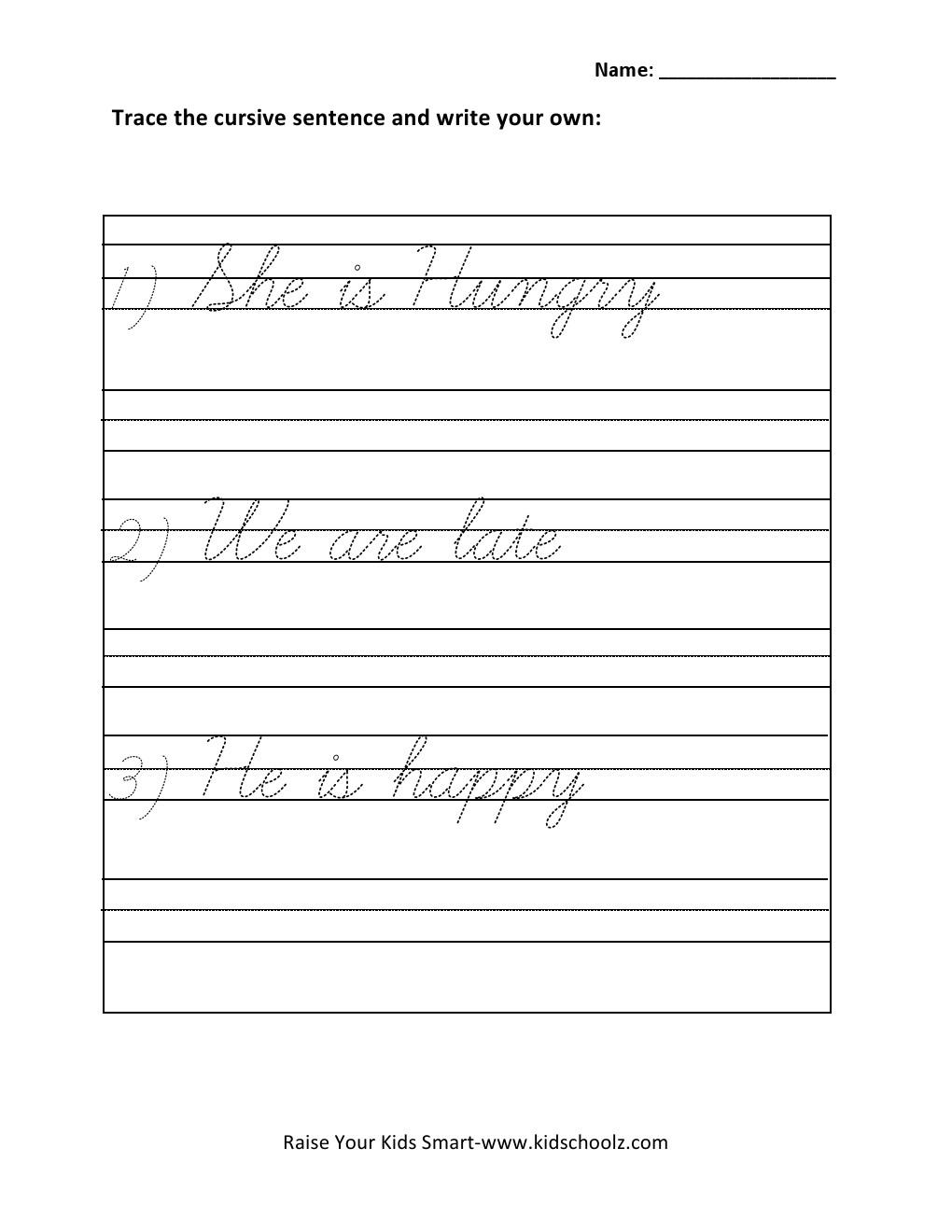 Cursive Handwriting Worksheets Sentences Worksheets For All