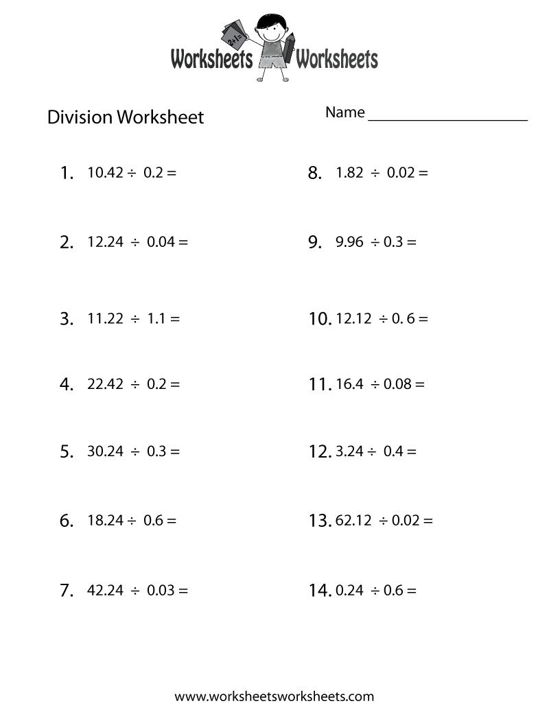 Decimal Division Worksheet