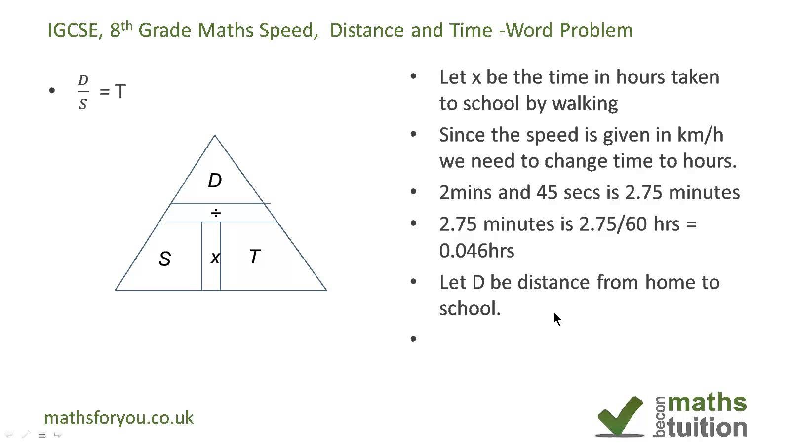 Distance, Speed And Time Word Problem