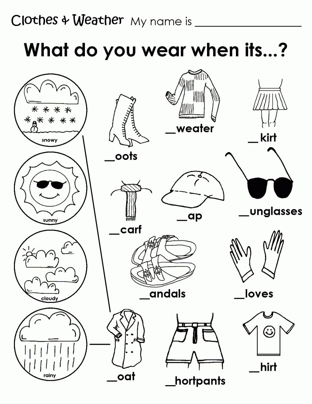 Esl Worksheets Kindergarten Math Printable Weather Clothes