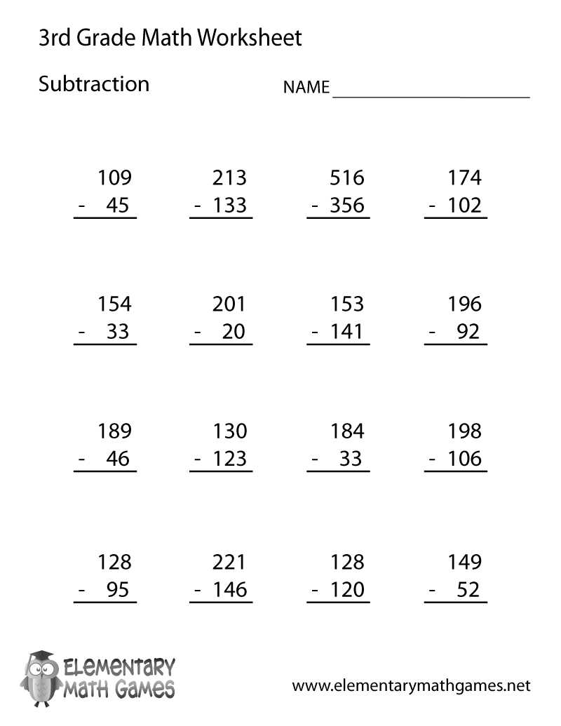 Excel  Math Homework Sheets For 4th Grade  Third Grade Subtraction